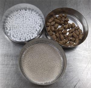 Melt Spray Urea, Fluid Bed Granulated Clay, and Pelletized Biomass